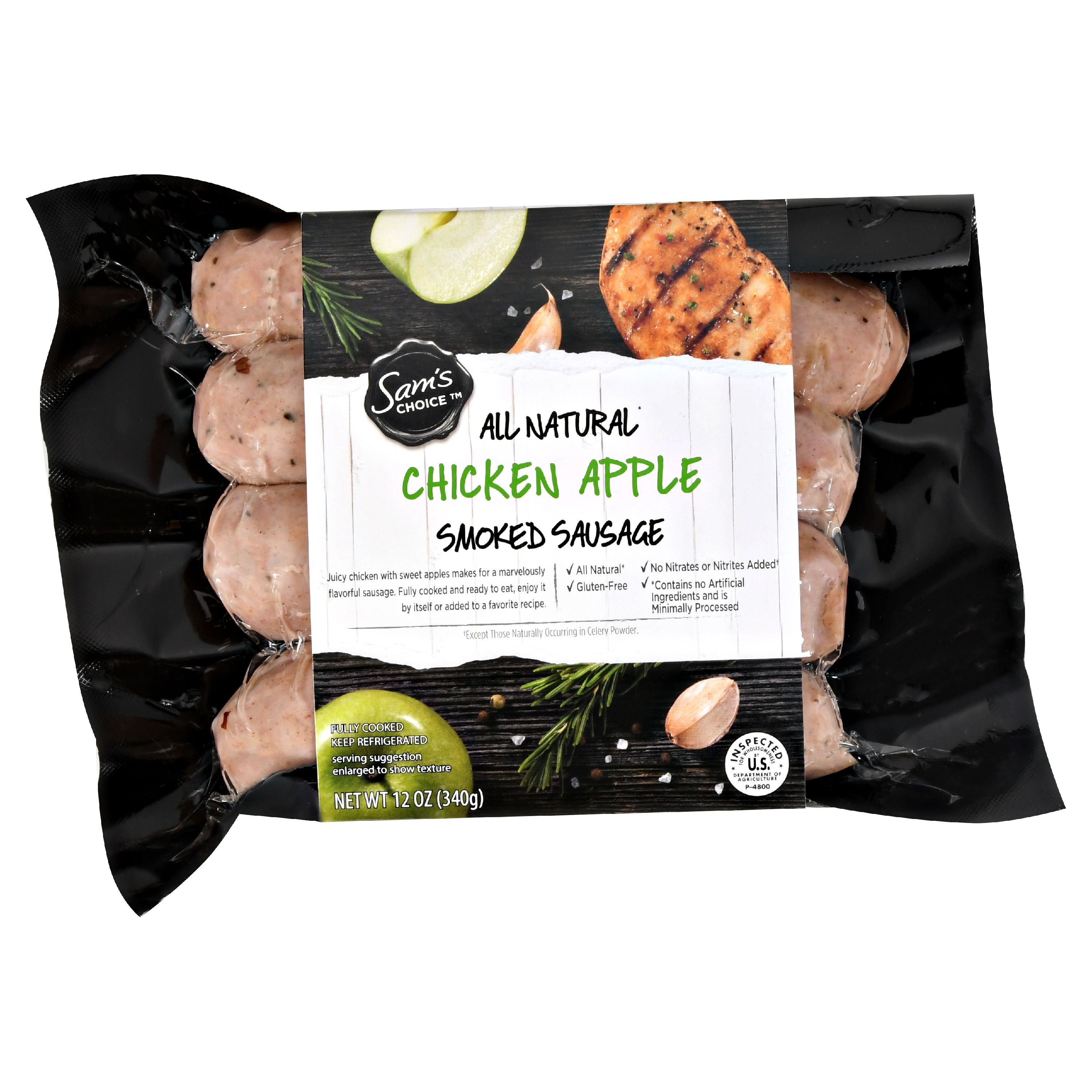 Sam's Choice All Natural Smoked Sausage, Chicken Apple, 12 oz