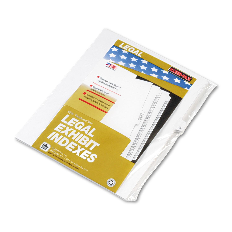 """90000 Series Legal Exhibit Index Dividers, Side Tab, Printed """"10"""", 25/Pack"""