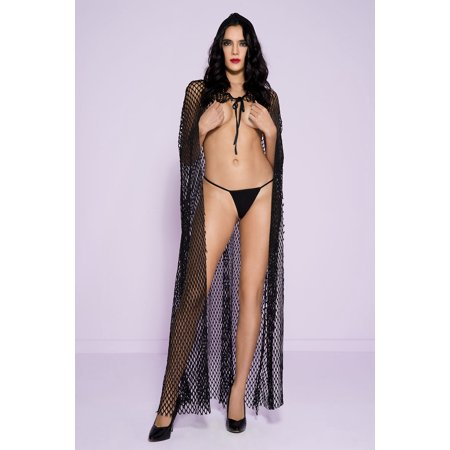 Fishnet cape with attached hood 53007-BLACK - Black Cape Hood