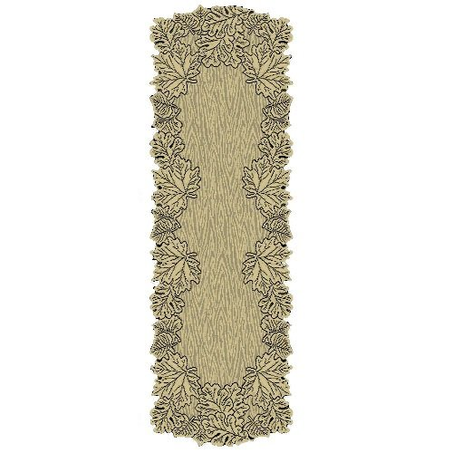 Leaf 20-Inch by 60-Inch Mantle Runner, Goldenrod, Table textile By Heritage Lace by