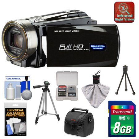Bell & Howell DNV16HDZ 1080p HD Video Camera Camcorder with Infrared Night Vision (Black) with 8GB Card + Case + Tripod + Accessory Kit