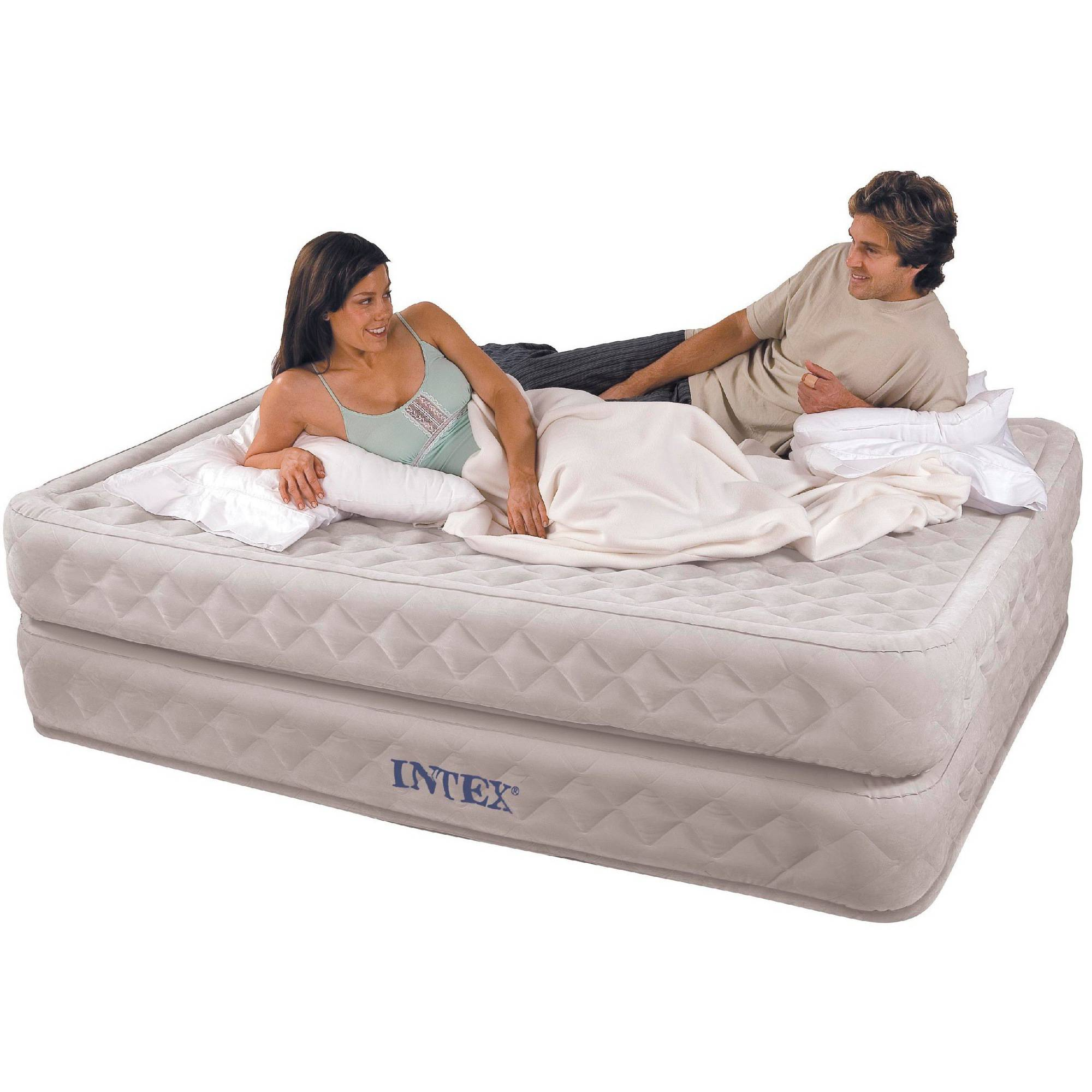 "Intex Queen 20"" Supreme Air Flow Airbed Mattress with Built-in Pump"