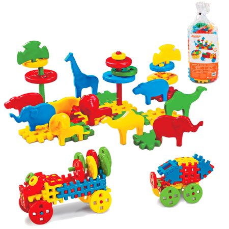 ECR4Kids Waffle Blocks with Animals (100 Pieces) Creative STEM Building Toy Set