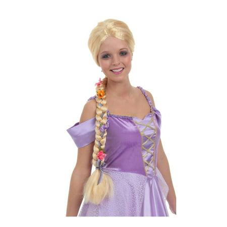 Long Blond Braided Flower Wig Rapunzel Girls Tangled Fairytale Child - Rapunzel Braided Wig