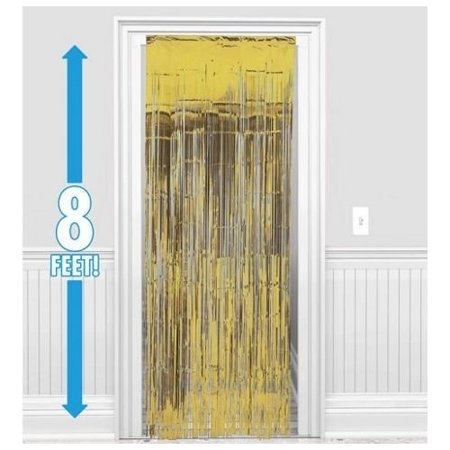 2 PACK 3' x 8' Gold Foil Fringed - For Door, Window, Curtain, Wall Decoration, Party Accessory, Parties, Special Events, & Backdrop - - Party Wall Decorations