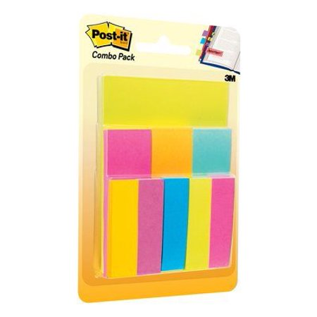 Embossed Damask Notes (Post-it Notes and Tabs Combo Pack, Assorted Sizes and Colors,)