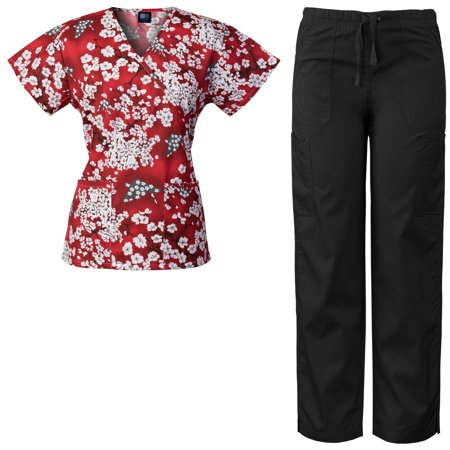 Medgear Women's Scrubs Set Mock-Wrap Printed Top and Multi-Pocket Pants SHRE