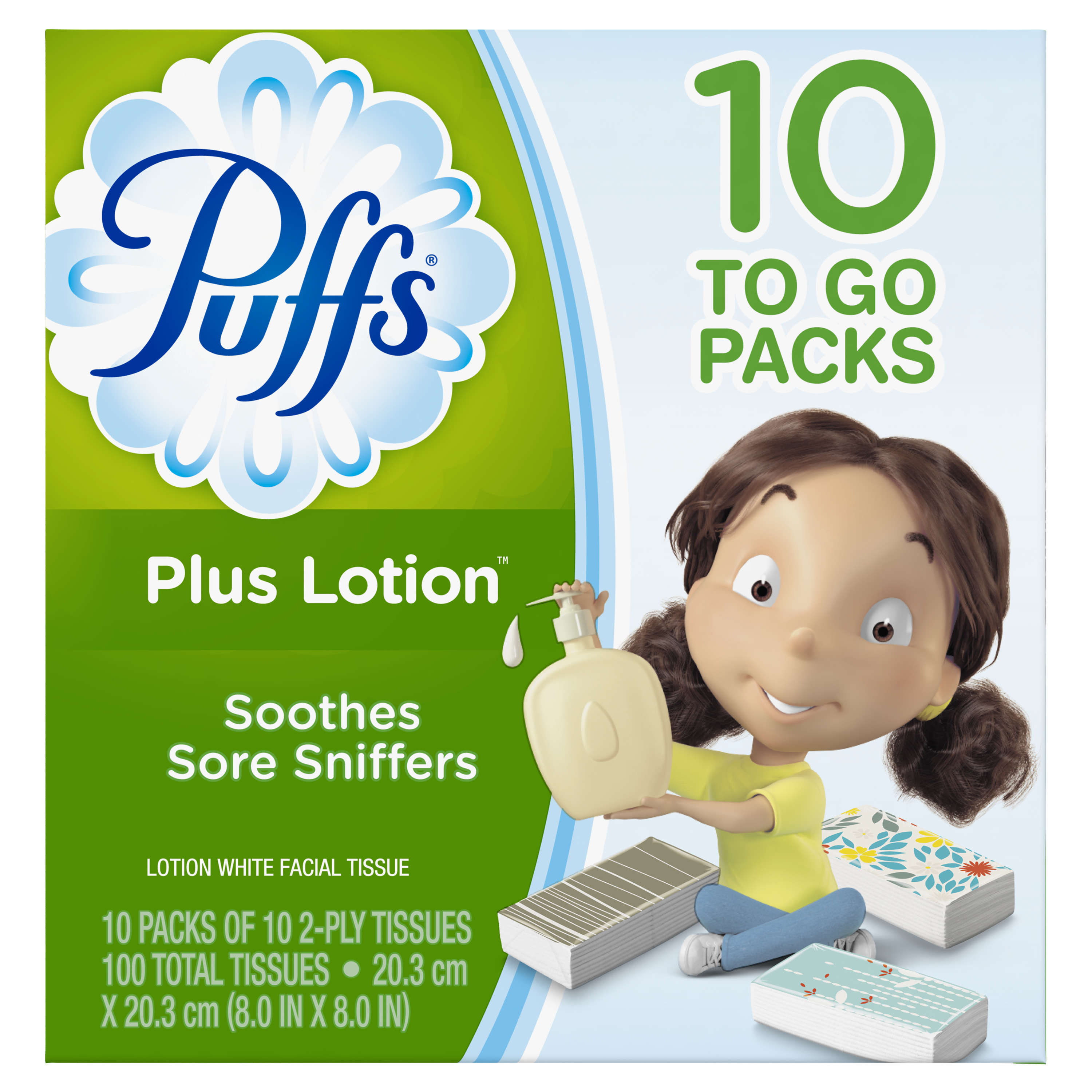Puffs Plus Lotion Facial Tissues, 10 To Go Packs, 10 Tissues per Pack