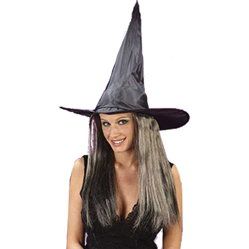 Taffeta Witch Hat with Hair Adult Halloween Accessory