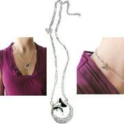 Hampton Direct Butterfly Pendant Elegant & Beautiful Silver Plated Chain Jewelry