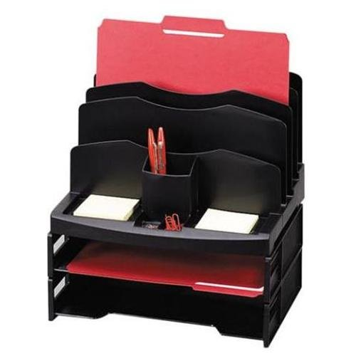 "Rubbermaid Smart Solutions Organizer With Letter Tray - 13"" Height X 10"" Width X 8.1"" Depth - 11 Compartment[s] - Plastic - Black (SPR26372)"