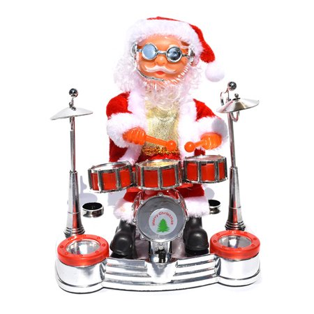 Christmas Electric MUSIC Santa Claus Doll Xmas Sax Band Drum Ornaments Toys ()