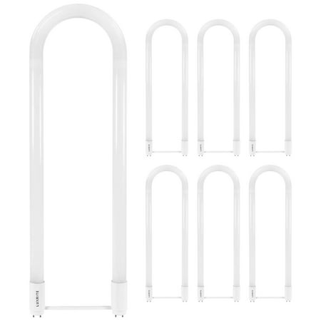 Eco 10 Ballasts - Luxrite U Bend LED Tube Light, T8 T12, 18W (32W Equivalent), 3500K Natural White, 2100 Lumens, Fluorescent Light Tube Replacement, Direct or Ballast Bypass, DLC and ETL Listed, G13 Base (6 Pack)