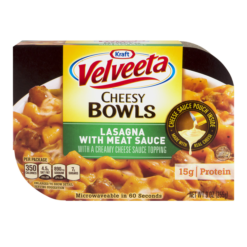 Velveeta Cheesy Bowls Lasagna With Meat Sauce with a Creamy Cheese Sauce Topping, 9.0 OZ