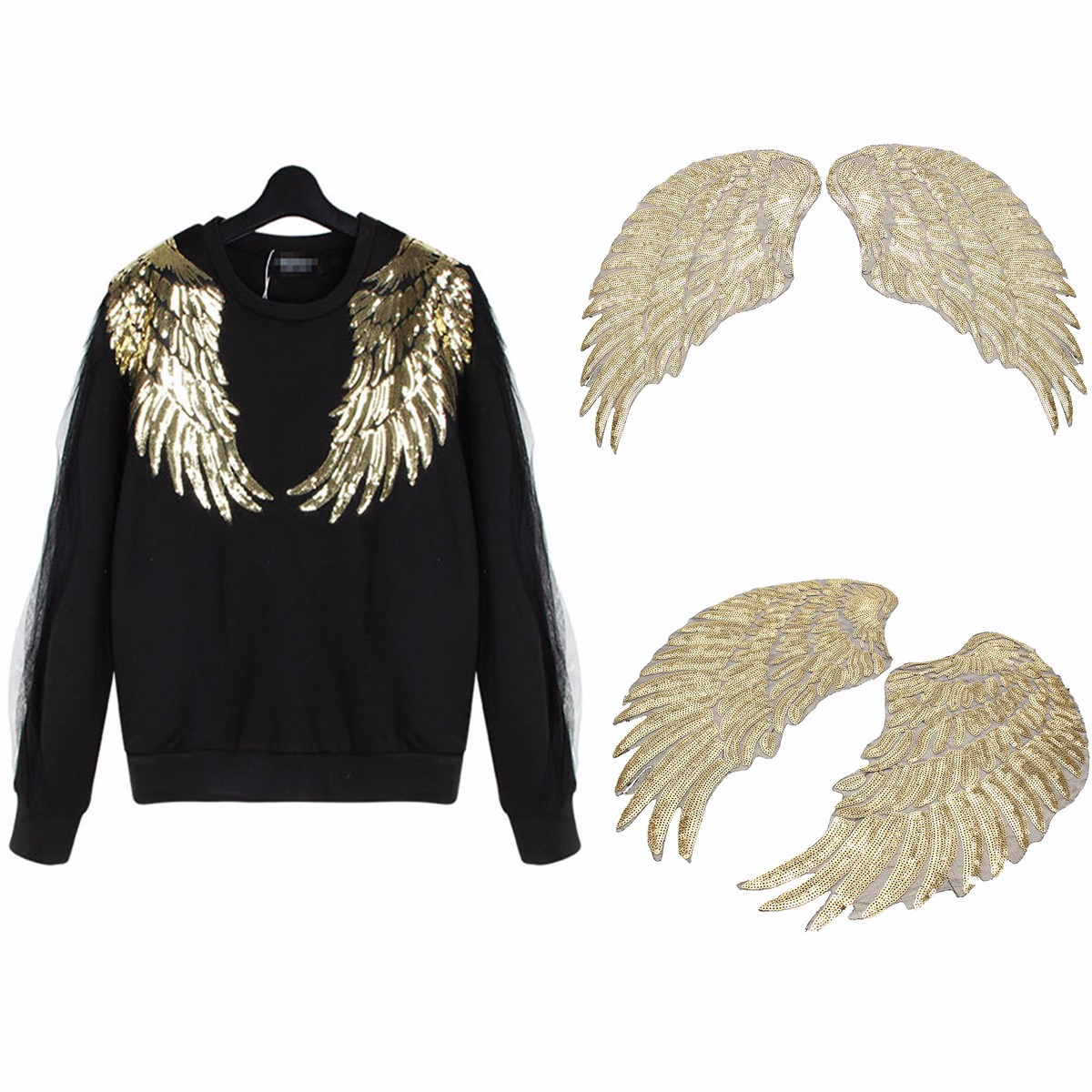 1 Pair Golden Sequin Beaded Angel Wings Iron on Applique Patch Mirror Embroidery