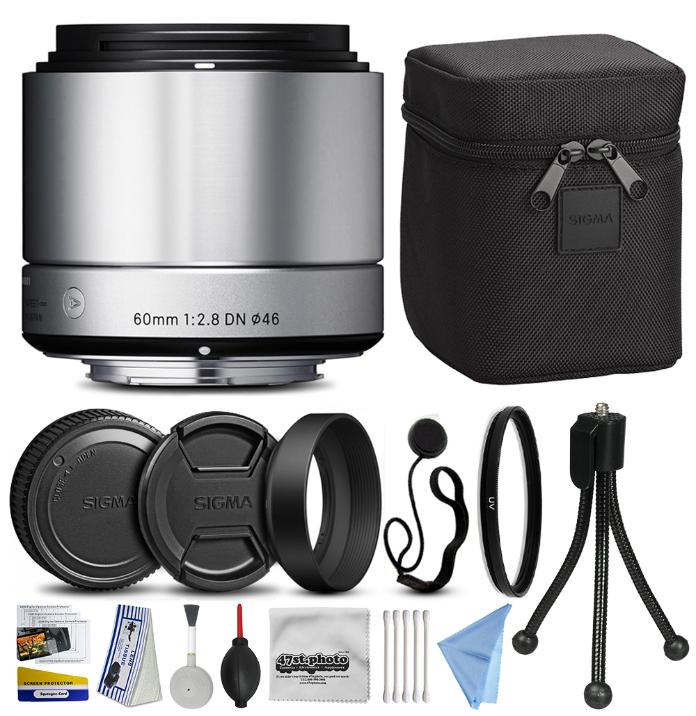 Sigma 60mm F2.8 DN Art Silver Lens for Micro Four Thirds (35S963) with Starter Accessories Kit includes Ultraviolet Filter + Deluxe Cleaning Kit + Air Dust Blower + Cap Keeper