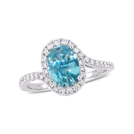 - 2-3/8 Carat T.G.W. Blue Zircon and 3/8 Carat T.W. Diamond 14kt White Gold Twist Ring