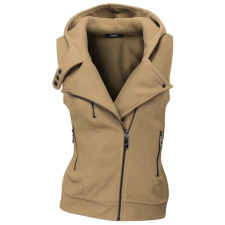 Doublju Women's Cross Neck Sleeveless Hoodies Stylish Hoodie Zip up BEIGE S
