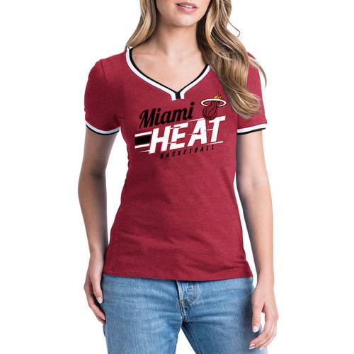 NBA Miami Heat Women's Short Sleeve Biblend V-notch Scoop Tee