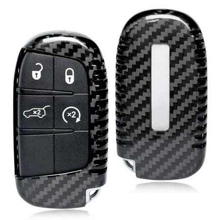 GZYF 1PC Genuine Carbon Fiber Car Auto Remote Key Case Shell For Jeep Dodge Cherokee Renegade