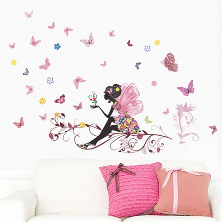 New Butterfly Flower Fairy stickers Bedroom Living Room Walls