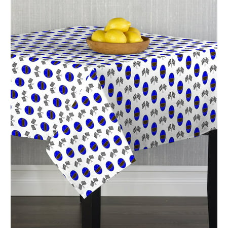 Fabric Textile Products Blue Helmets & Racing Flags Tablecloth 54