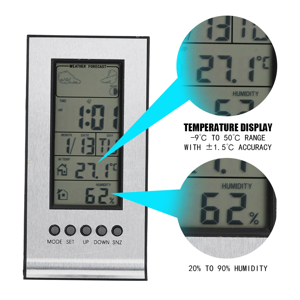 Aramox Indoor LCD Digital Thermo Hygrometer Weather Forecase Clock 12 24-Hour Thermometer Hygrometer, Digital... by