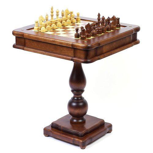 Italian Mahogany/Briarwood Game Table with Chessmen