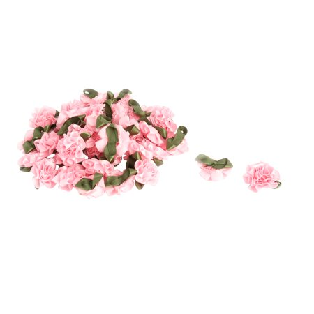 Woman Shop Artificial Decorative Rose Bows Ribbon Flower Pink 40 PCS