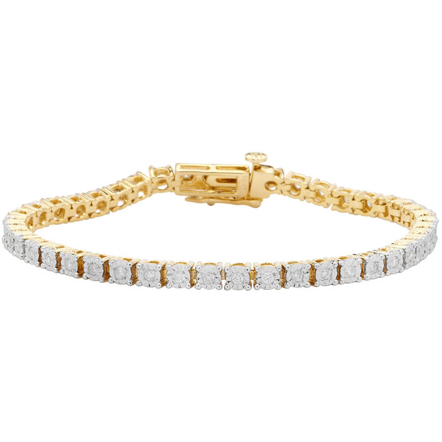 1.00 Carat T.W. Round White Diamond Yellow Gold over Sterling Silver Tennis Bracelet by Generic