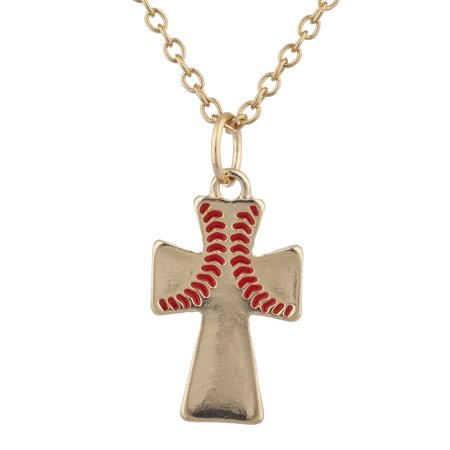 Lux Accessories Gold Tone Baseball Wide Red Cross Charm Pendant Necklace