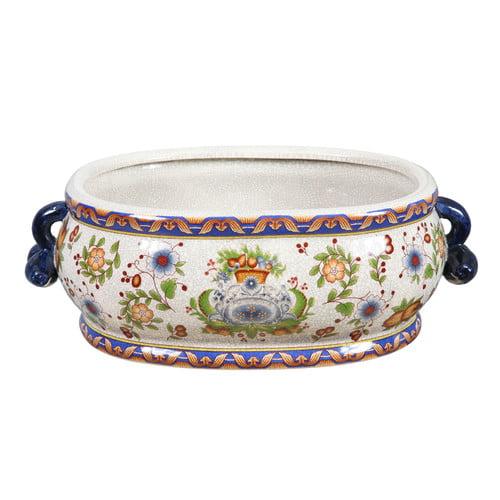 Winward Designs Tuscan Floral Oval Pot Planter