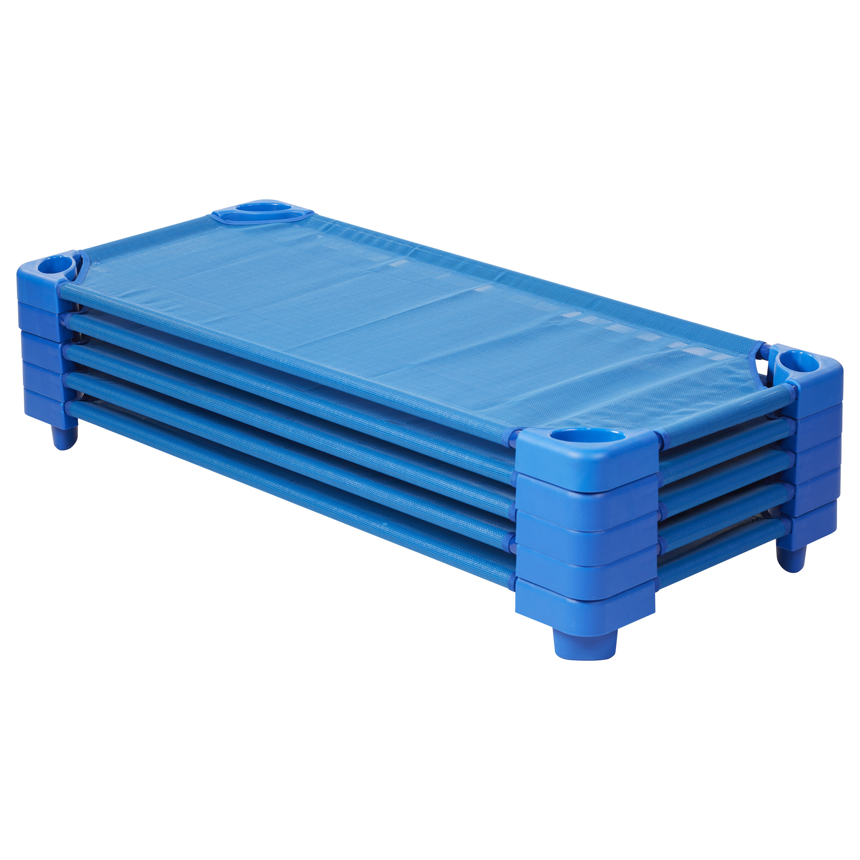 Click here to buy Stackable Kiddie Cot Standard Assembled Blue by ECR4Kids.