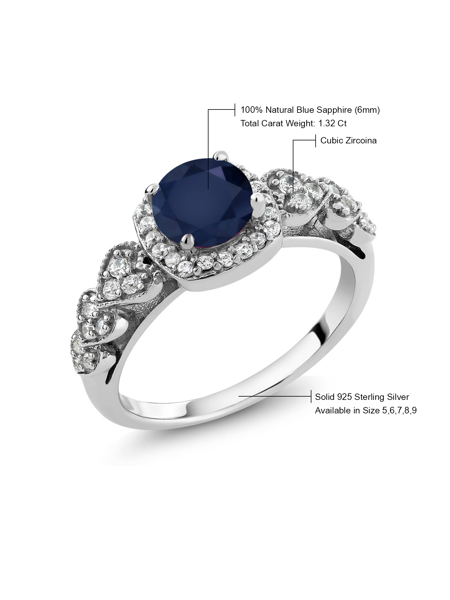 925 Hallmark Sterling Silver Vintage Style Black Gemstone Solitaire Ring different sizes available