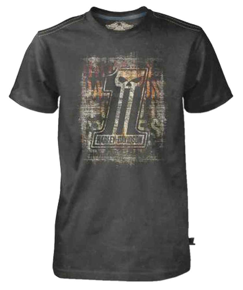Harley-Davidson Men's Black Label T-Shirt, Distressed Brick Wall #1 Skull, Black, Harley Davidson by Bravado