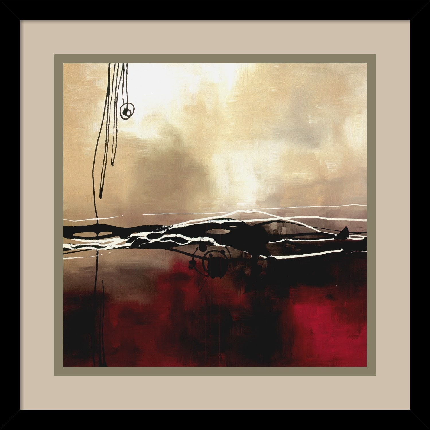 Amanti Art Framed Artwork Print 'Symphony in Red and Khaki I' by Laurie Maitland 16 x... by Overstock