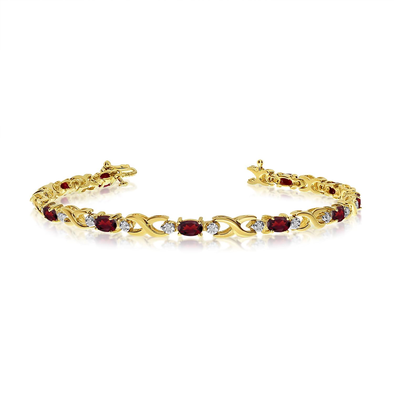 14K Yellow Gold Oval Garnet and Diamond Bracelet by