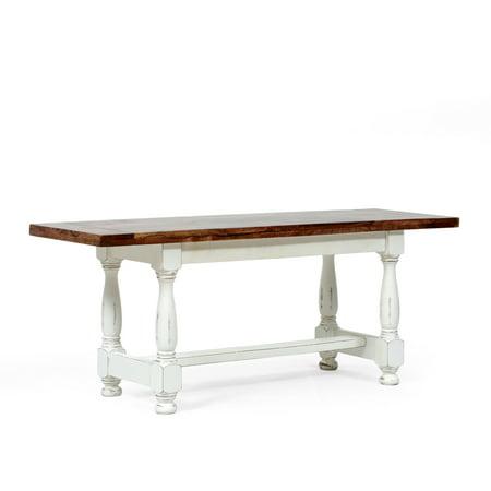 Noble House Hickson Mango Wood Coffee Table, White Distress, Brown