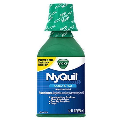 4 Pack Vicks Nyquil Cold & Flu Nighttime Relief Liquid, Original Flavor 12 oz Ea