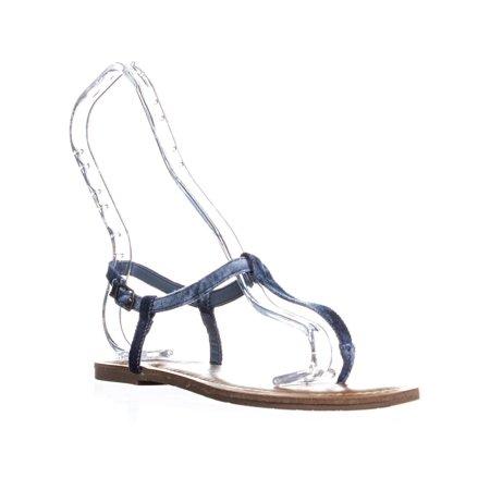 Denim Woven Sandals (Womens AR35 Krista Thong T-Strap Flat Sandals,)