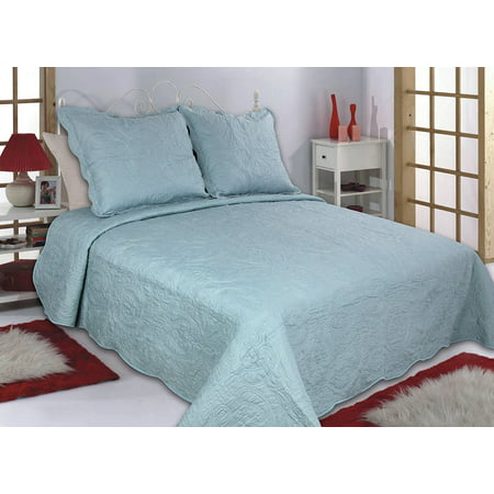 All for You 2pc Reversible Quilt Set, Bedspread, and Coverlet-3 different sizes-Aqua color (twin 68