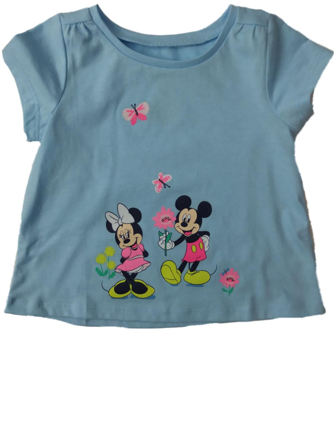 Infant & Toddler Girls Disney Minnie & Mickey Mouse Flower Glitter Tee Shirt
