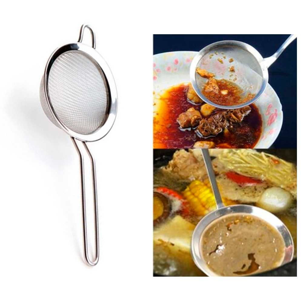 Mesh Stainless Steel Colander Strainer Oil Sieve Flour Sifter Tea Tool Handle !! by 4SGM