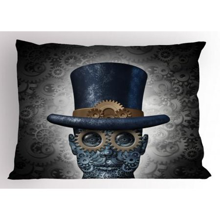 20 Inch Geared Head - Steampunk Pillow Sham Futuristic Fantasy Figure as Mechanical Human Head with Gears Cog and Hat, Decorative Standard Size Printed Pillowcase, 26 X 20 Inches, Grey Black Blue, by Ambesonne