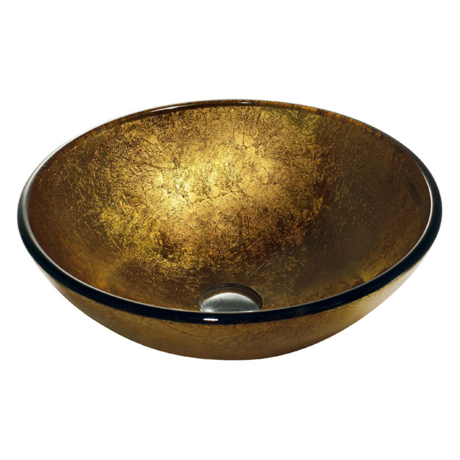 Vigo Glass Vessel Bathroom Sink, Liquid Gold