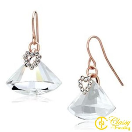 Classy Not Trashy® Women's Iron Clear Top Grade Crystal Heart Design Fish Hook Earrings ()