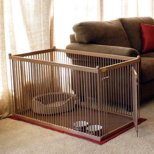 Pupperton 26'' Walnut Short Panel Right Hinged Pet Pen