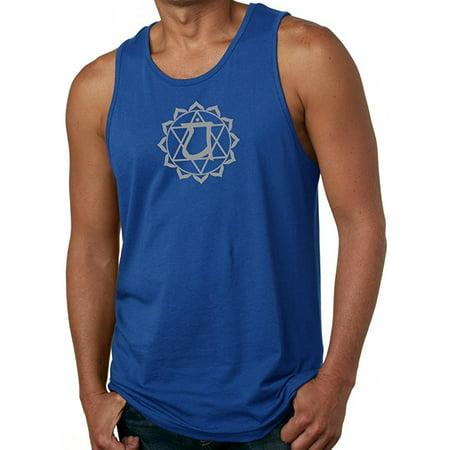 Mens Anahata Chakra Symbol Yoga Tank Top - Royal, - Yoga Mens Tank Top
