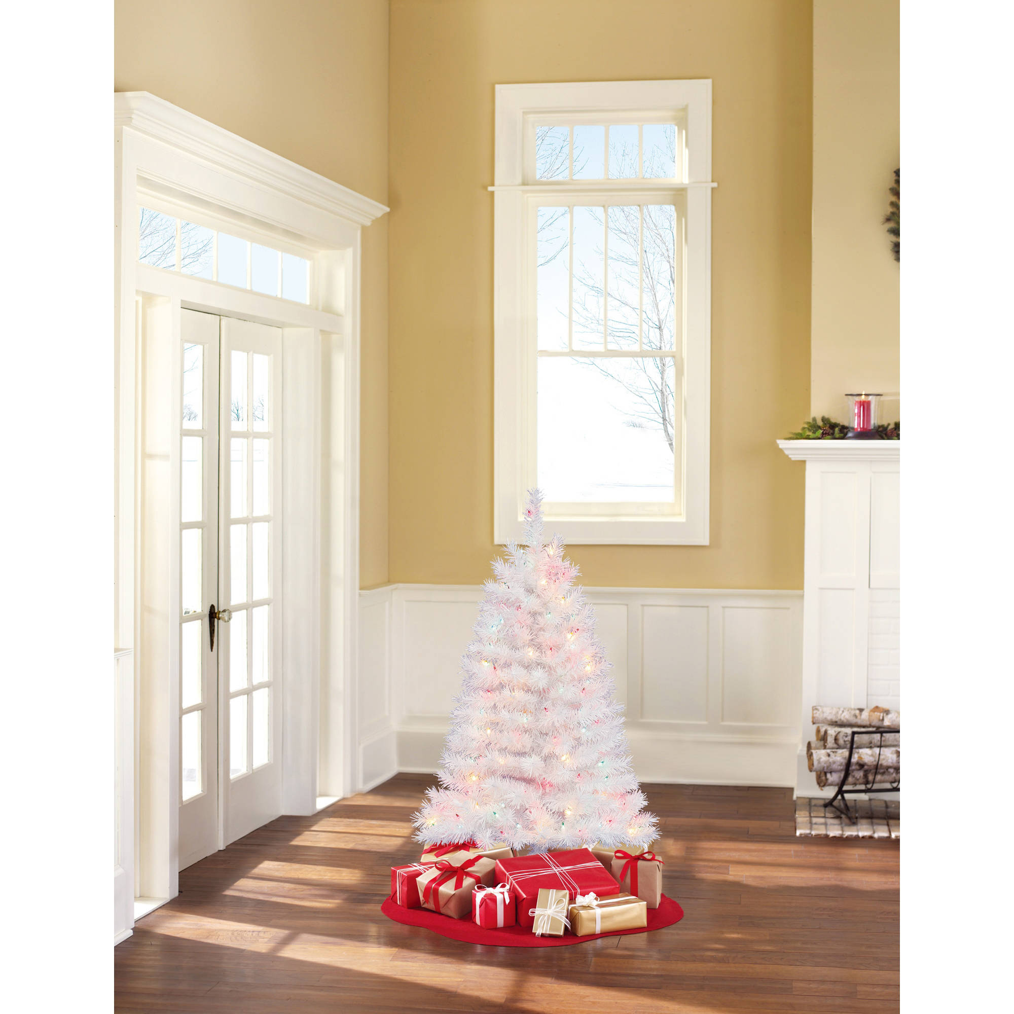 Holiday Time Pre-Lit 4' Indiana Spruce White Artificial Christmas Tree, Multi Lights