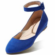 DailyShoes Women's Ankle Strap Low Wedge Flat Shoe D'Orsay Ballet Buckle Closed Point Toe Fashion Flats Square Walking Dress Shoes Slip On Soft Round